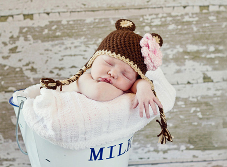 Bonnet bébé au crochet petit ours