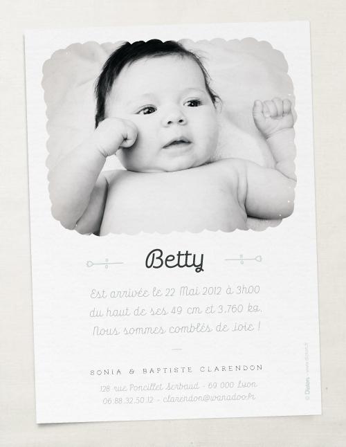 Faire-part de naissance Dioton & Elizabeth Olwen