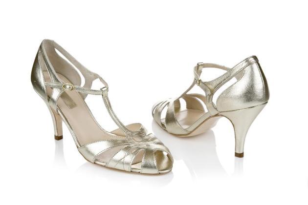 Chaussures de mariage dorées rétro et vintage - modèle Ginger par Rachel Simpson
