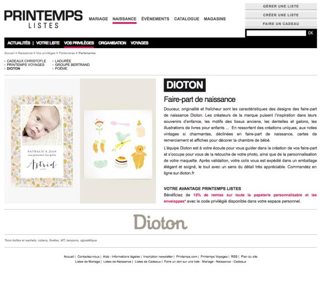 Dioton faire part de naissance Listes Printemps