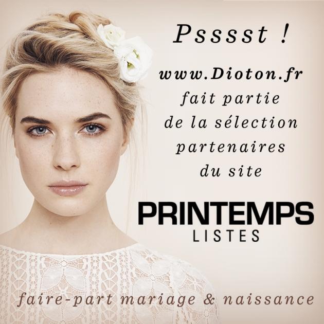 Dioton est prestataire de faire-part de mariage partenaire de Printemps Listes