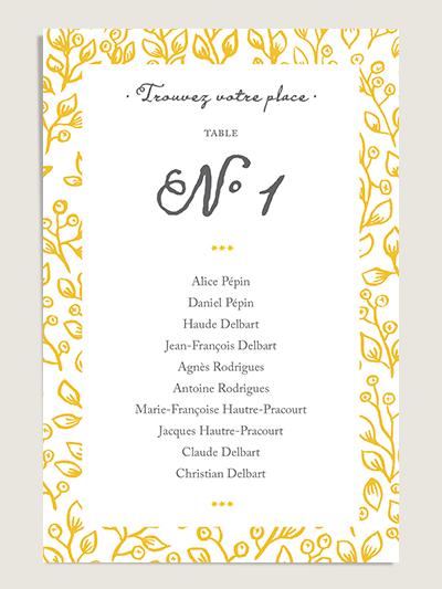 Plan de table personnalisé mariage Lune de Miel