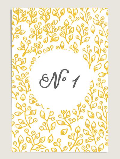 Numéro de table mariage design Lune de Miel
