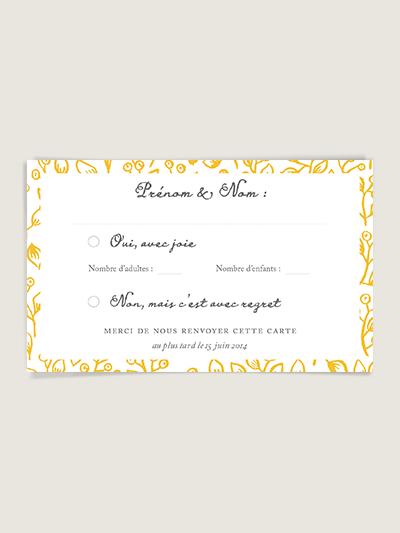 Carton réponse invitation mariage Lune de Miel