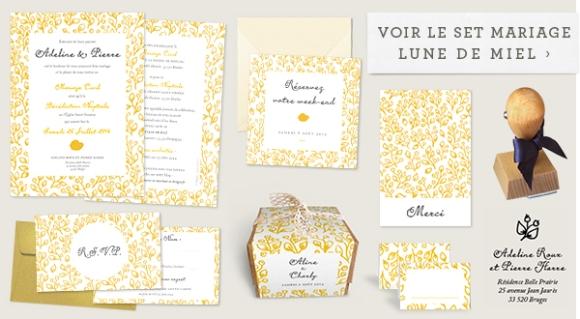 Faire-part de mariage design Lune de Miel