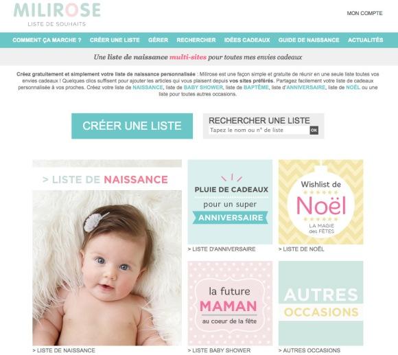 Liste de naissance sur Milirose.com