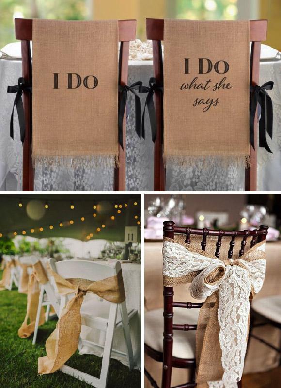 deco chaise mariage rustique dentelle
