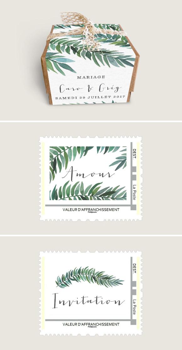 Boîtes à dragées et visuels de Timbres personnalisés